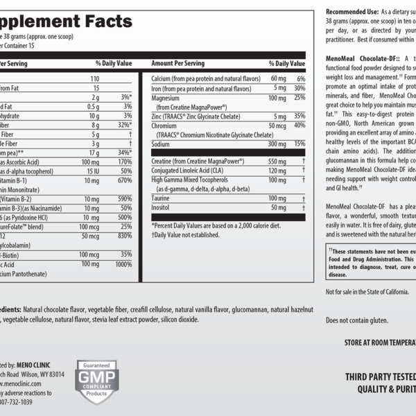 MenoMeal Chocolate-DF Supplement Facts