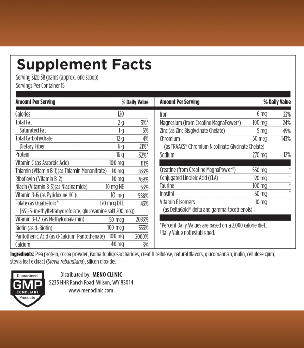 MenoMeal Chocolate Supplement Facts