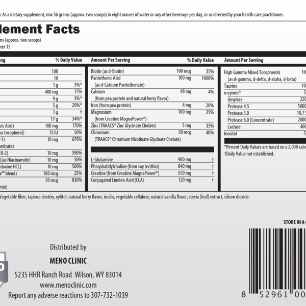 MenoMeal Berry-DF Supplement Facts