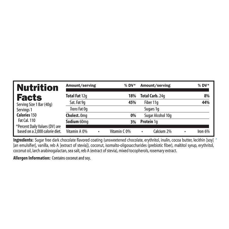 Chocolate Coconut Nutrition Facts