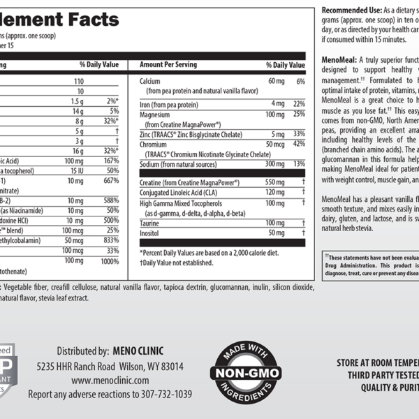 MenoMeal Vanilla DF Supplement Facts