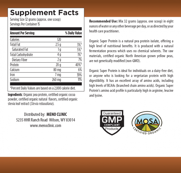 Organic Super Protein Chocolate Supplement Facts