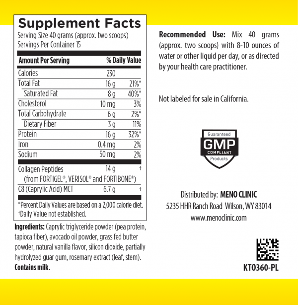 Keto Shake Supplement Facts