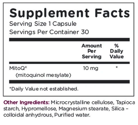 MitoQ 10mg Supplement Facts